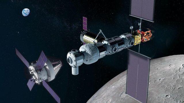 The Orion crew module docking with Gateway in lunar orbit