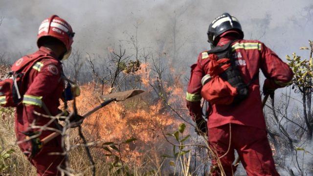 Bomberos tratan de controlar el fuego cerca de Charagua, en Bolivia, en la frontera con Paraguay, el 29 de agosto de 2019.