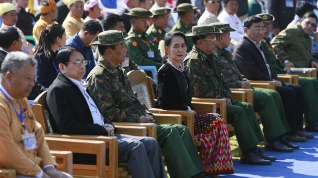 "Aung San Suu Kyiattends the peace talk with ethnic representatives to mark the 70th anniversary of Myanmar""s Union Day ceremony in Panglong , 12 February 2017"