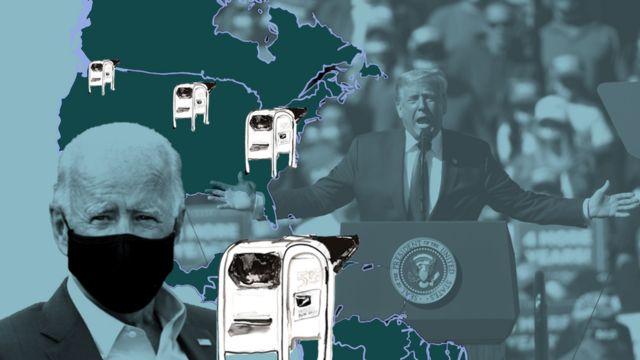 Ilustración que muestra a Donald Trump en un mitin, Joe Biden con una mascarilla y cajas de votación