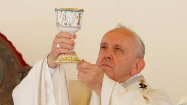 Pope Francis leads a mass in a cathedral in Italy. File photo