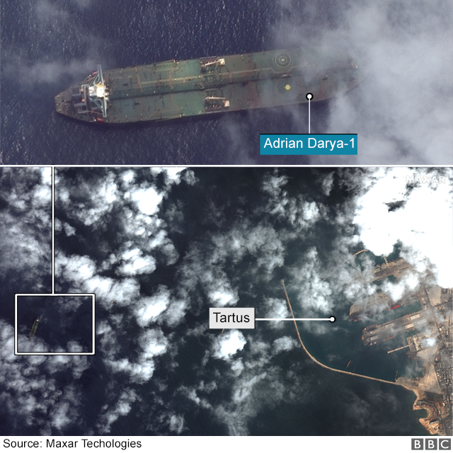 Satellite images from Maxar technologies are composited to show the location of the vessel in the same satellite image as the port city of Tartus, Syria