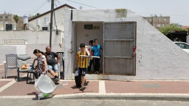 Israelis coming out of bomb shelter
