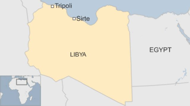 シルト(Sirte)と首都トリポリ(Tripoli)の位置