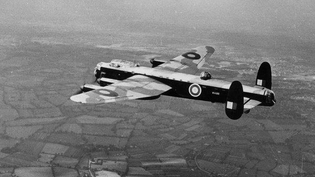 Lancaster bomber during World War II