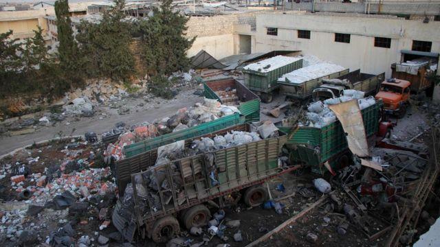 Convoy de ayuda humanitaria bombardeado cerca de Alepo