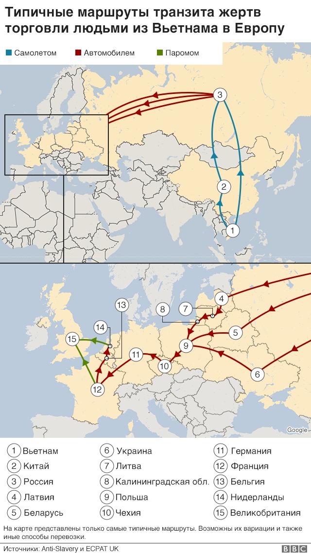 Карта типичных маршрутов