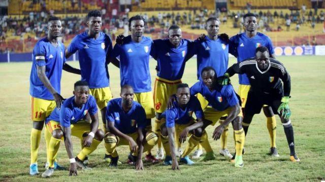L'équipe du Tchad, lors de son match contre le Soudan le 11 septembre 2019, en éliminatoires de la Coupe du monde Qatar 2022.