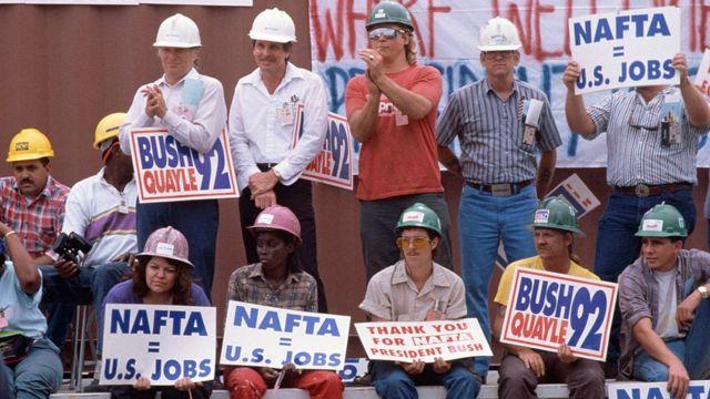 En la década de 1990, el Business Roundtable hizo cabildeo a favor de la aprobación del acuerdo de libre comercio con México y Canadá.