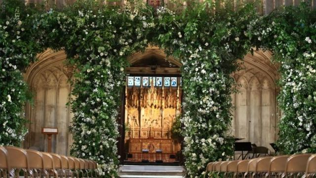 """Flowers adorn the front of the organ loft inside St George""""s Chapel at Windsor Castle"""