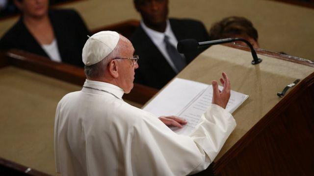 米上下院合同会議で演説するフランシスコ法王