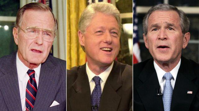左からジョージ・H・W・ブッシュ大統領、クリントン大統領、ジョージ・W・ブッシュ大統領