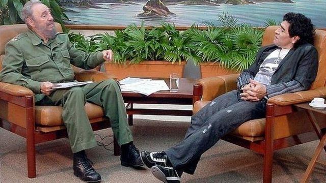 Former Cuba president Fidel Castro and Diego Maradona