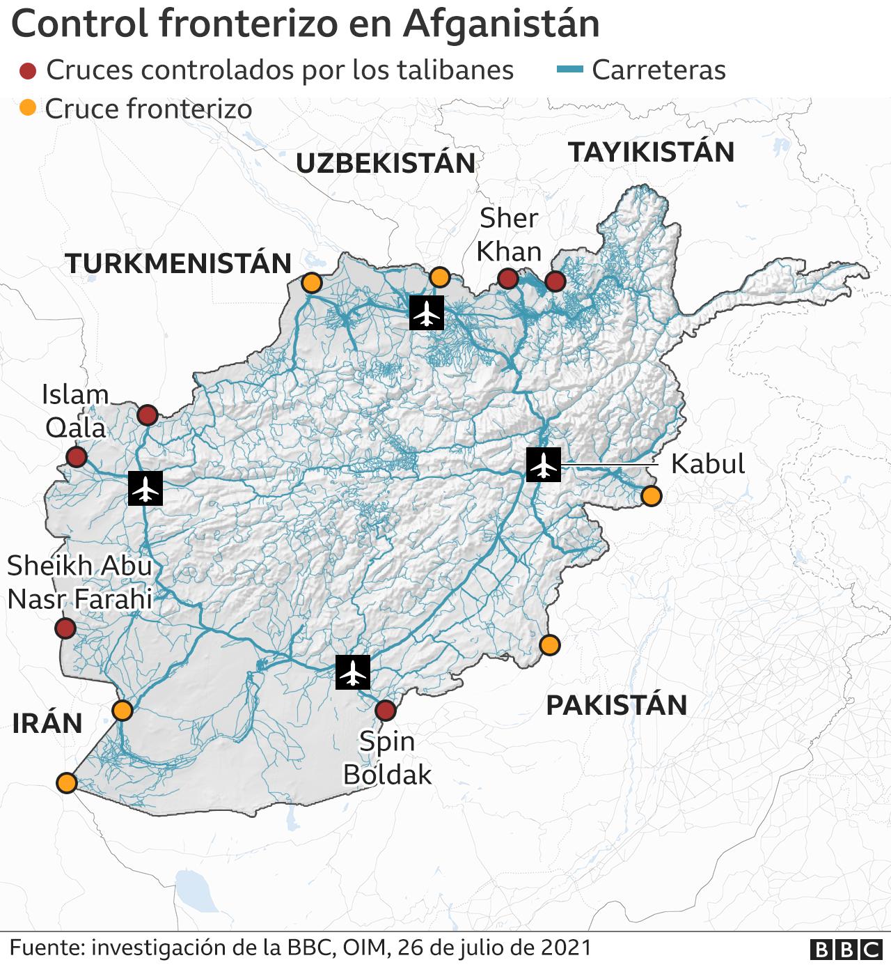 Mapa del control talibán