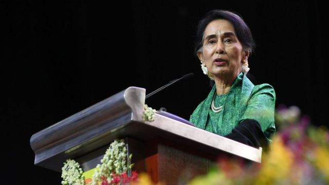Myanmar State Counsellor Aung San Suu Kyi speaks to the Myanmar Community in Singapore during a meet session on December 1, 2016