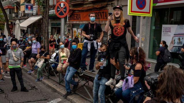 Protestas en el barrio capitalino de Vallecas.