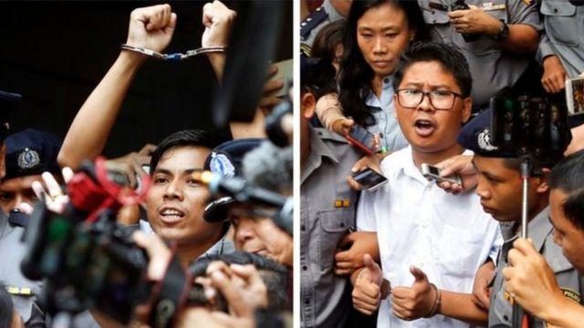 Kyaw Soe Oo (ibumoso) na Wa Lone bavuga ko batezwe umutego na polisi
