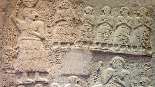 A limestone votive relief of Ur-Nanshe, the Sumerian king of Lagash (in southern Iraq). circa circa (2550–2500 BC)