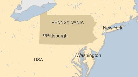 Map shows Pittsburgh in the US state of Pennsylvania