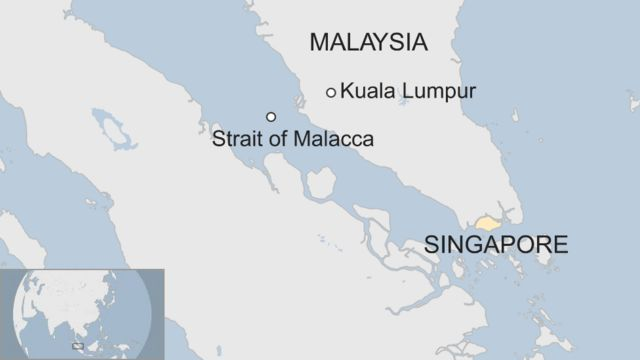 Map shows the location of Singapore and the Strait of Malacca