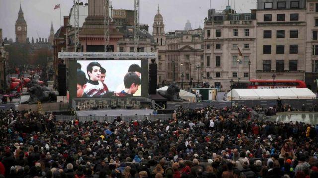 """""""The Salesman"""" fue mostrada en una pantalla gigante en la Plaza de Trafalgar"""
