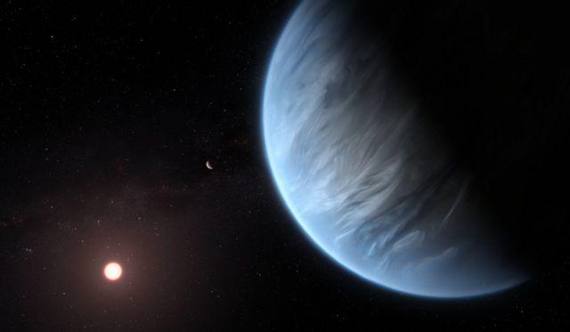 ภาพจากฝีมือศิลปินจำลองลักษณะของดาว K2-18b และดาวฤกษ์แคระแดงที่มันโคจรวนรอบ