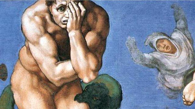 """Фрагмент фрески """"Страшный суд"""" Микеланджело"""