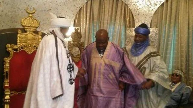 Rivers State Governor Nelson Wike being Turbaned by Sultan Abubakar Saad III