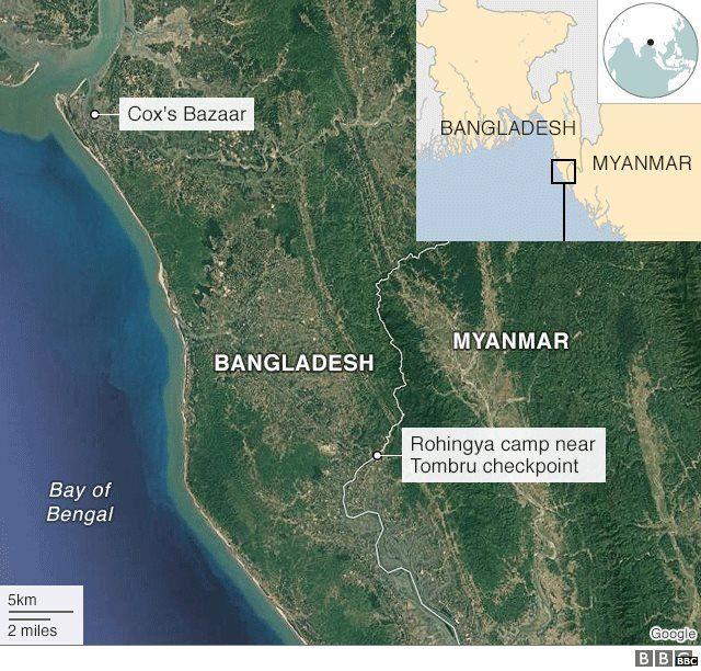 बांगलादेश आणि म्यानमारचा नकाशा