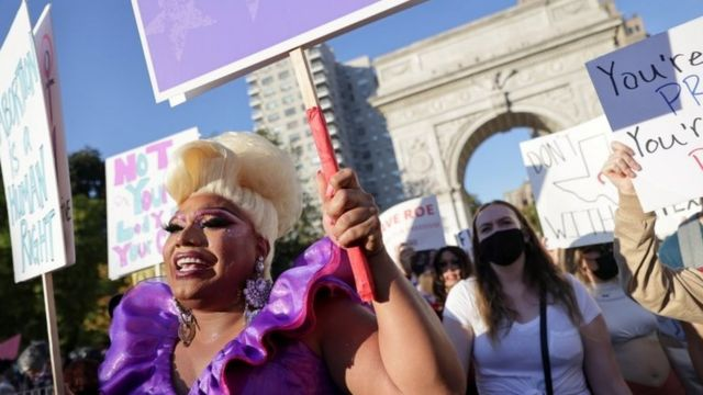 Supporters of reproductive choice take part in a rally in New York