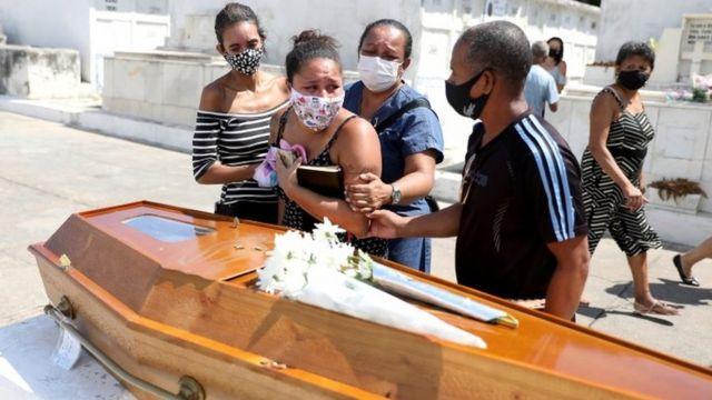 Familiares de vítima de covid-19 choram em volta de caixão durante enterro