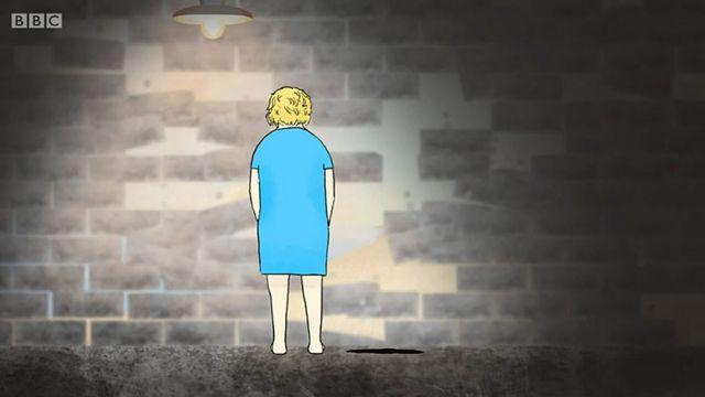 Dibujo de Eva con paredes cayendo