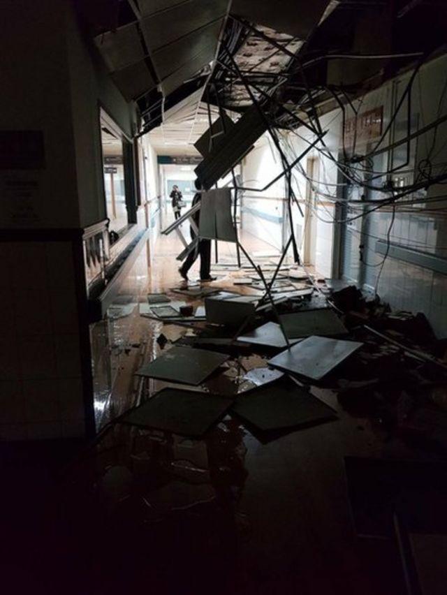 花蓮的醫院走廊一片凌亂