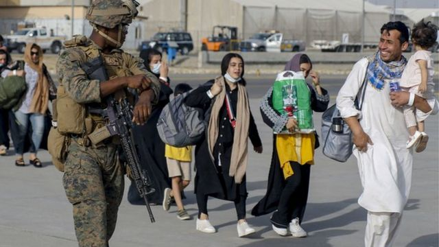 During the evacuation at Afghanistan International Airport, the U.S. Marines of the 24th Marine Expeditionary Force were escorting the evacuees