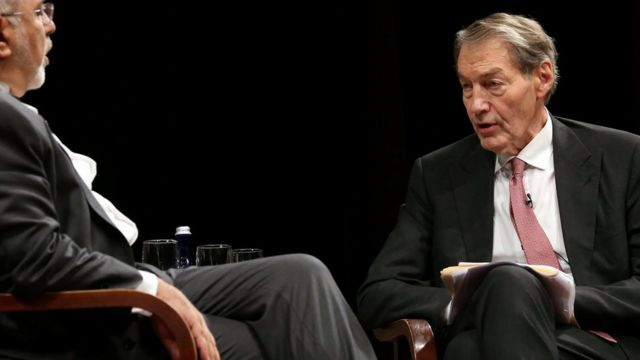 Charlie Rose questions Iranian Foreign Minister Mohammad Javad Zarif at an event held in conjunction with the 72nd United Nations General Assembly in Manhattan, New York, September 27, 2017