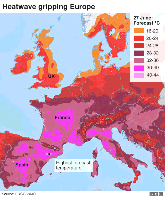 Heatwave map of Europe, showing forecast temperatures