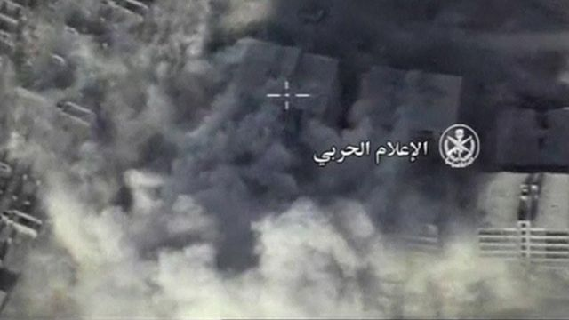 Aerial view of Syrian Army airstrikes on south west Aleppo