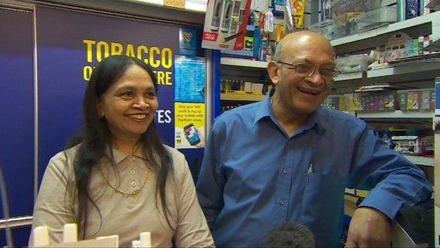 Shopkeeper Natu Patel and his wife