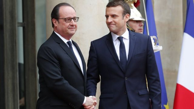 François Hollande et Emmanuel Marcon
