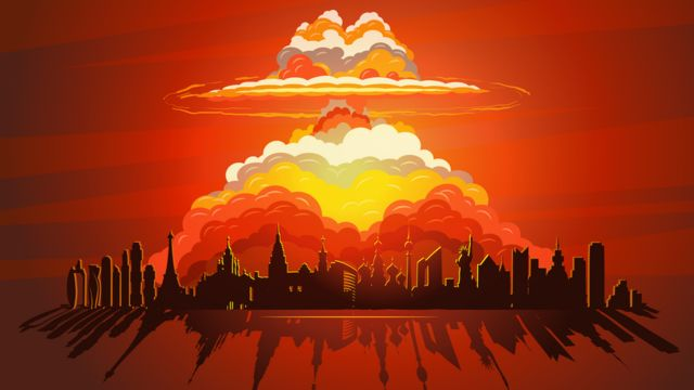 Ilustración de una explosión sobre una ciudad