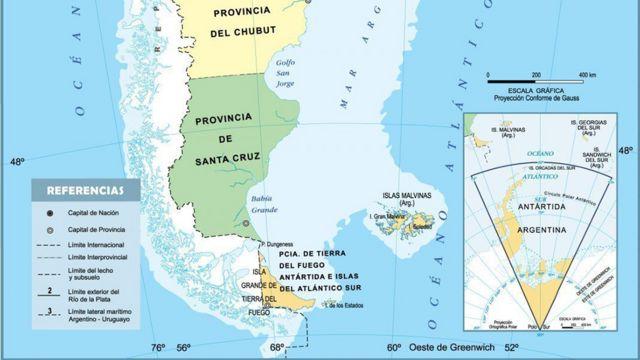 Mapa del sur de Argentina