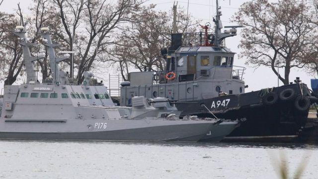 Os navios ucranianos na Criméia
