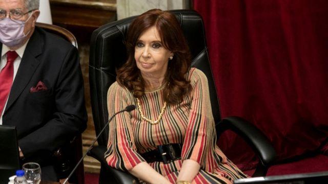 Cristina Kirchner, durante la sesión del senado.