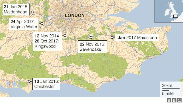 A map showing the locations of the burglaries - • 12 November 2014 - Kingswood, Surrey; 21 January 2015 - Maidenhead area, Berkshire; • 13 January 2016 - Chichester area, Sussex; • 22 November 2016 - Sevenoaks area, Kent; • January 2017 - Maidstone area, Kent; • 24 April 2017 - Virginia Water area, Surrey; • 26 October 2017 - Kingswood, Surrey