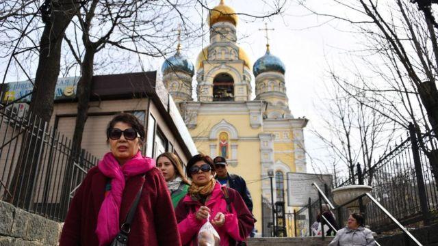 (캡션) '코스타 네오라만티카호' 크루즈선을 타고 블라디보스토크를 방문한 한국 관광객