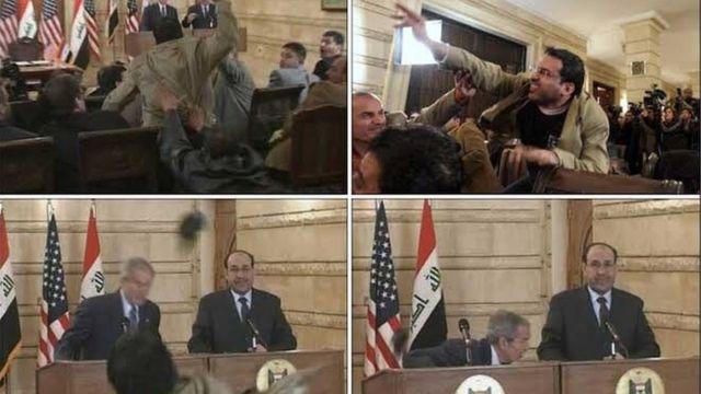 Journalist wirft US-Präsident Bush für 2008 einen Schuh zu