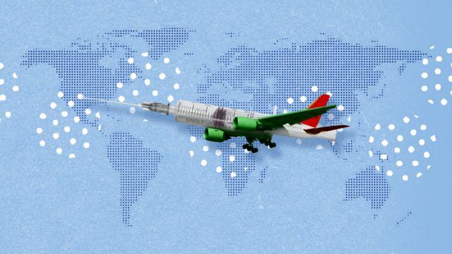 Ilustración de un avión que también es una jeringa.
