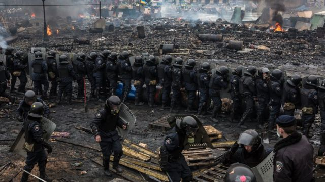 """Бойцы """"Беркута"""" на Майдане 19 февраля 2014 года"""