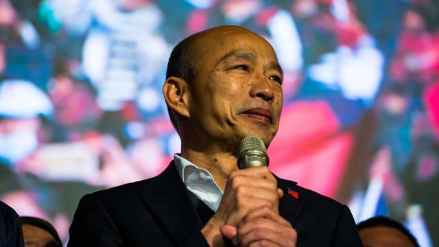 Han Kuo-yu speaks during a rally outside the campaign headquarters on January 11, 2020 in Kaohsiung