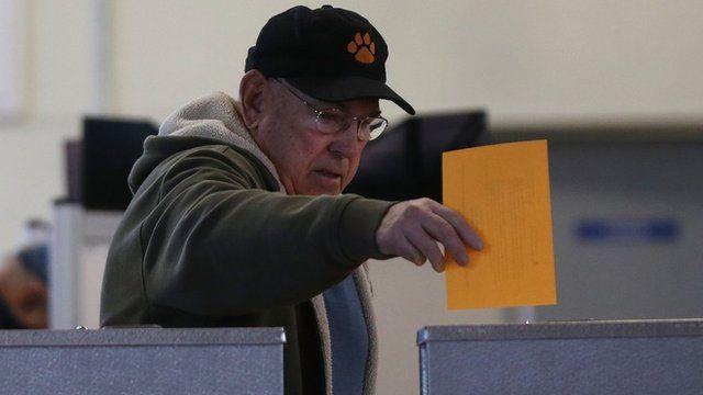 A man votes in Texas